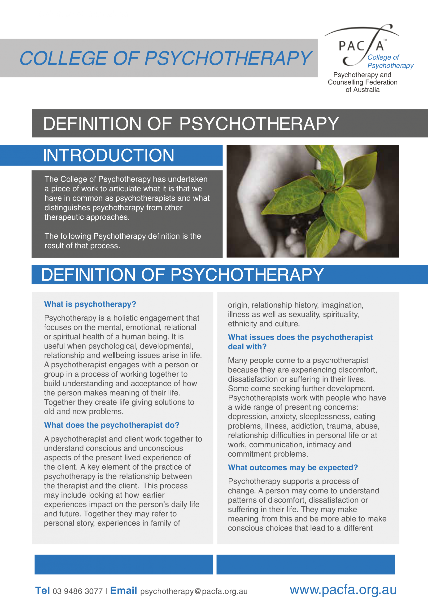 Definition of Psychotherapy